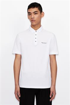 armani exchange heren polo polo shirt with logo lettering 8nzf80 z8h4z