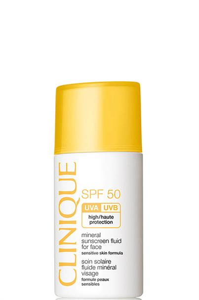 clinique spf 50 mineral suncreen fluid for face sensitive skin formula high protection 30 ml