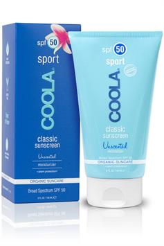 coola classic sunscreen - sport - organic suncare lotion spf 50 - unscented - 148 ml