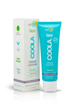 coola mineral sunscreen - face - finish matte untinted moisturizer spf 30 - cucumber - 50 ml