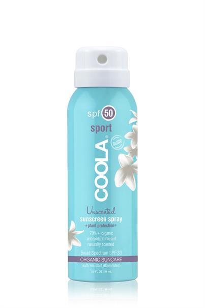 coola travel size classic sport organic sunscreen spray spf 50 - unscented - 88 ml