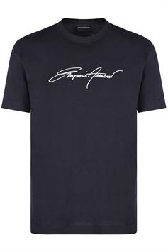 emporio armani heren t-shirt silky jersey t-shirt with signature logo embroidery 3k1tl6 1julz