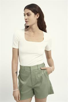 fitted square neck tee in rib quali