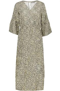 geisha dames jurk dress long aop leopard 3/4 sleeve 07340-21