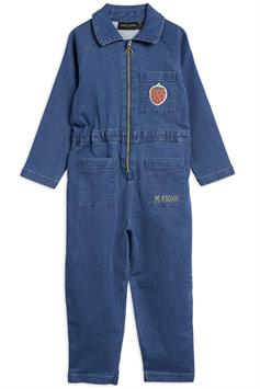 mini rodini kids jumpsuit denim strawberry onesie 2124010060