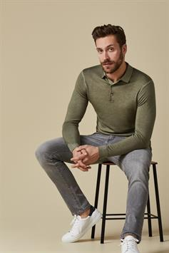 profuomo heren trui polo long sleeve green ppsj1c0057