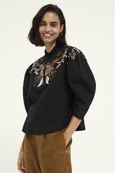scotch & soda dames blouse embroidered top with balloon sleeve 162545
