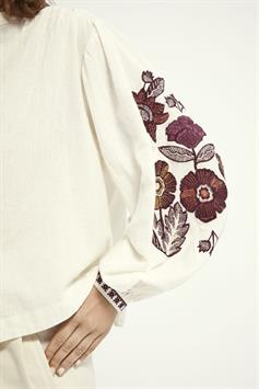 scotch & soda dames blouse embroidered top with voluminous sleeves 161951