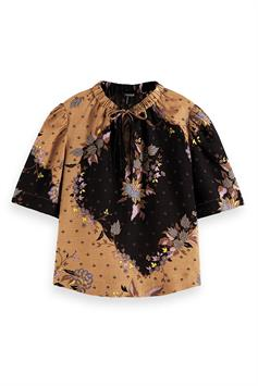 scotch & soda dames blouse printed top with puffy sleeves 162534