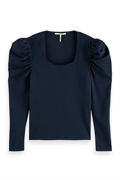 scotch & soda dames shirt puffy longsleeve tee with square neck 161877