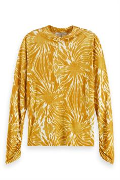 scotch & soda dames t-shirt lange mouw printed long sleeve tee with gather 161695