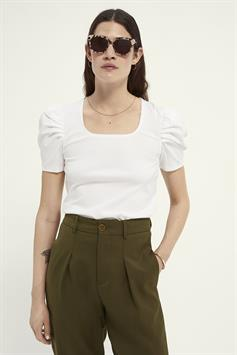scotch & soda dames t-shirt puffy short sleeve tee with square neck 161714