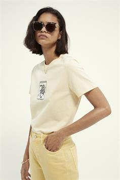 scotch & soda dames t-shirt relaxed fit tee with graphics in organic cotton 161708