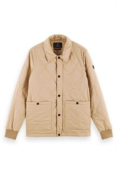 scotch & soda heren jas classic quilted cotton-blend jacket 160669