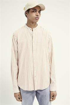 scotch & soda heren overhemd relaxed fit- collarless shirt in or 160763