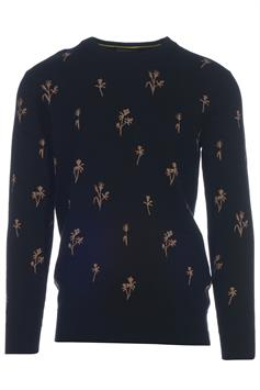 scotch & soda heren sweater crewneck pull with all-over jacquar 160911
