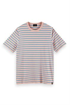 scotch & soda heren t-shirt classic patterned cotton-jersey crew neck 160854