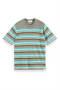 scotch & soda heren t-shirt knitted linen-blend striped t-shirt 160873