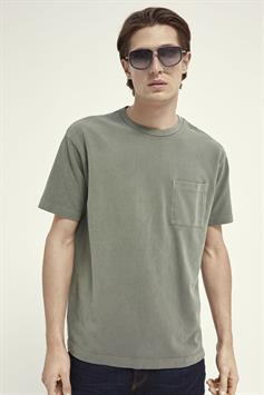 scotch & soda heren t-shirt organic cotton garment-dyed pique 160846