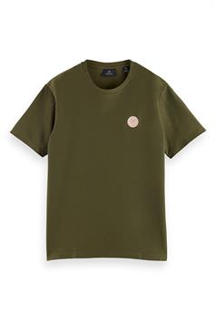scotch & soda heren t-shirt twill structured jersey tee with chest print 162365