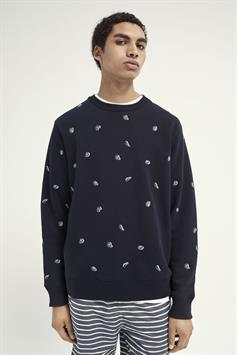 scotch & soda heren trui all-over embroidered crewneck sweat 160817