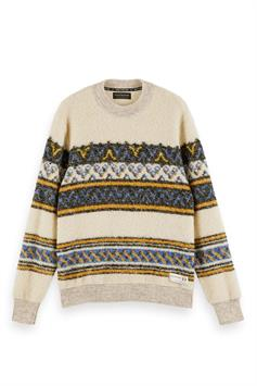 scotch & soda heren trui boucl pull with jacquard placement 158591
