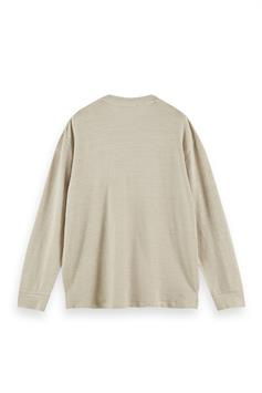 scotch & soda heren trui relaxed linen-blend longsleeve tee 160836