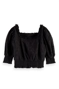 scotch & soda meisjes blouse off-shoulder cropped brodery anglai 161335