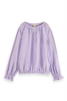 scotch & soda meisjes blouse wider fit top with elasticated hem 162179