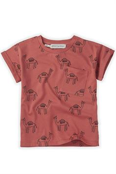 sproet & sprout kids t-shirt korte mouw print camel cherry red s21-710